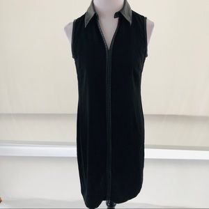4 Calvin Klein Faux Leather Trim Black Dress